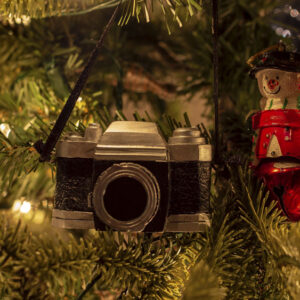 christmas tree with camera and snowman