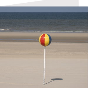 lollipop by the seaside - a beacon on a beach, greetings cards by stephane loustalot