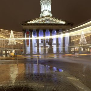 Night photograph of Glasgow with the Gallery of Modern in the background